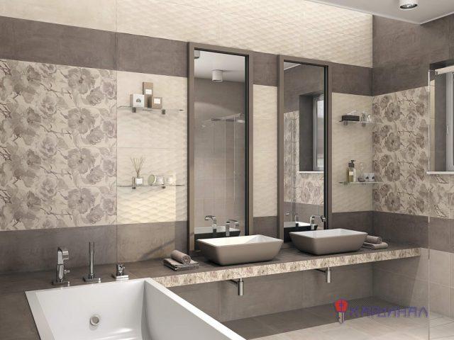 Плитка в ванную комнату розовая с цветами 5